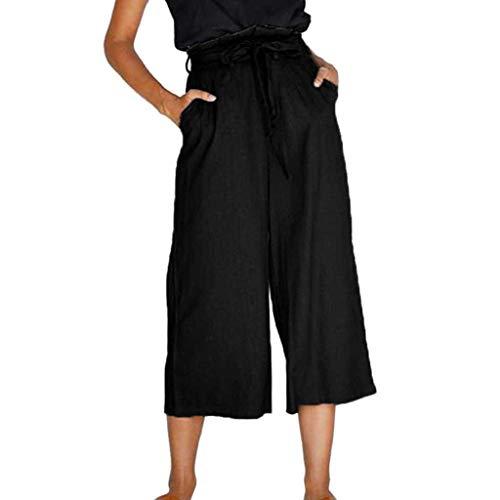 SANFASHION Pantalons Pantalon de Yoga Spandex Doux Femmes, Grande Taille Couleur Unie Casual Sarouel en Vrac Pantalon Aladdin Bohème Noir Bow, S