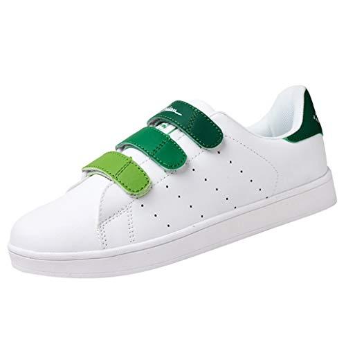 BHYDRY Paar-Freizeitschuhe der Frauen im Freien runder Kopf, der kleine weiße Schuhturnschuhe laufen lässt (36,Grün)