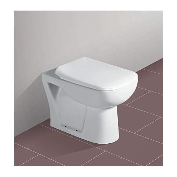 Ceramic Floor Mounted European Water Closet/Western Toilet Commode/EWC P Trap with Slim Hydraulic Soft Close Seat Cover 54cm x 35cm x 41cm - White (S Trap)