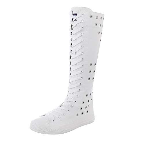 ad Kniehohe Lange Stiefel Flacher Reißverschluss Schnürschuhe Segeltuchschuhe Damen Stiefel Stiefeletten Sneaker Sportschuhe ()