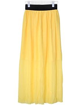 Maxi vestido Veroda de gasa estilo Retro, falda plisada con elástico ala cintura para mujer.