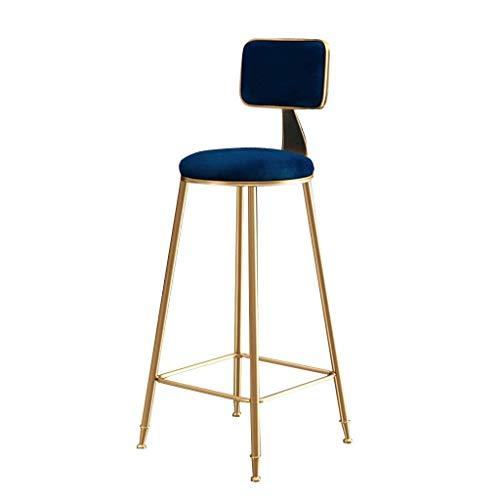 r, Zeitgenössische Barhocker Stühle Mit Rücken, Moderne Pub Küche Counter Höhe, Samtkissen, 5-Farben Erhältlich (Color : Blue, Size : 45cm) ()
