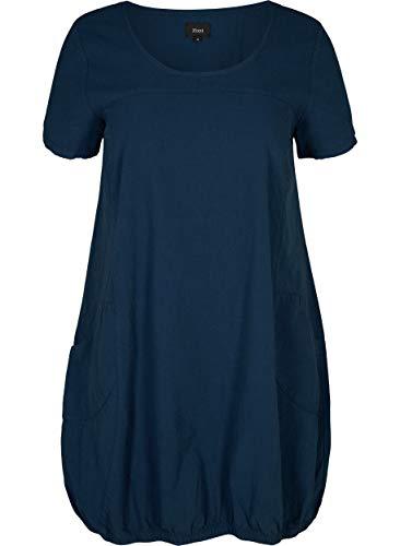 Zizzi Damen Weiches Kleid, Blau (Blue 0669), 42 (Herstellergröße: S (42/44)) - Einfache Baumwolle Kleid