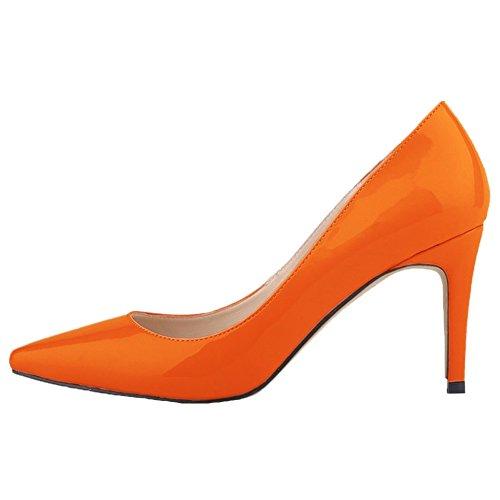 HooH Femmes Pointu Stiletto Chaussures De Mariage Escarpins Orange