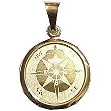 Nr 289 Kompass Windrose Anhänger 925 Sterling Silber Kettenanhänger Fleur-de-Lys