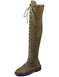 876e6a3c8669 Anokar Bottes Femme Talon Bas Genou Haute Suède Bottes Cuissardes Bottines  Longue Lacets Mode Sexy Chaussures
