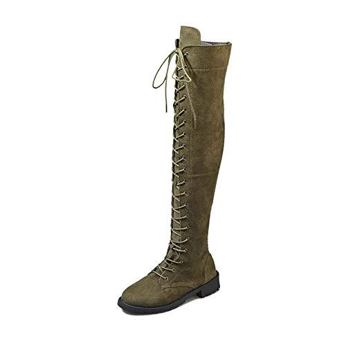 Stiefel Damen Overknee Stiefel Flach Winter Flachen Wildleder Schnüren Plateau High Boots Winterschuhe Bequeme Casual Elegante Schuhe Schwarz Braun Grün Gr.35-43 GR39