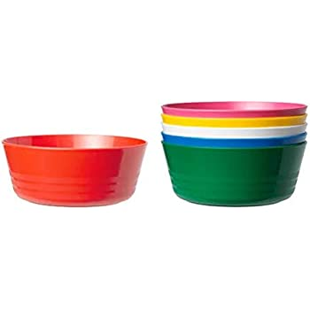 Plastic Bowls Dia 11 cm Assorted Colours Pack of 6 Ideal For Schools /& Parties