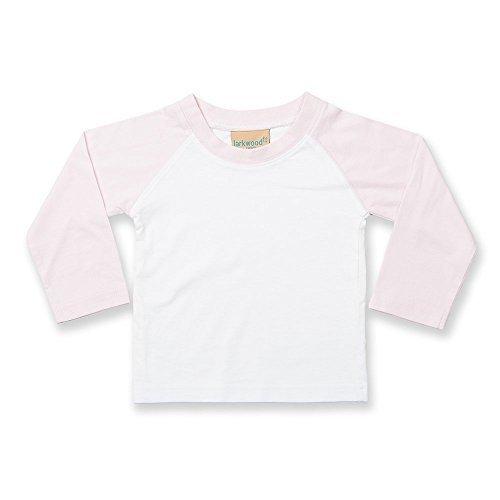 Neu Baby Kleinkinder Larkwood Langärmlig Baseball-shirt - weiß/Hellrosa, 6-12 (Kostüm Kleinkind Für Baseball)