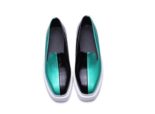 Beauqueen Pompe pattini pigri primavera e l'estate quadrato piano delle donne Toe fannulloni 34-43 Casual Shoes Green