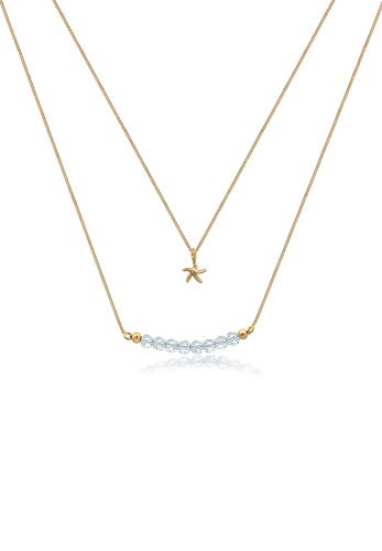 Elli Damen-Kette mit Anhänger Seestern Layer Modeschmuck 925 Silber Swarovski Kristalle gold Brillantschliff 40 cm - 0102221717_40