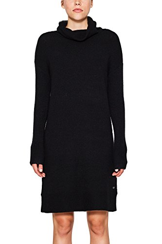 edc by ESPRIT Damen Kleid 107CC1E028 Schwarz (Black 001), Small