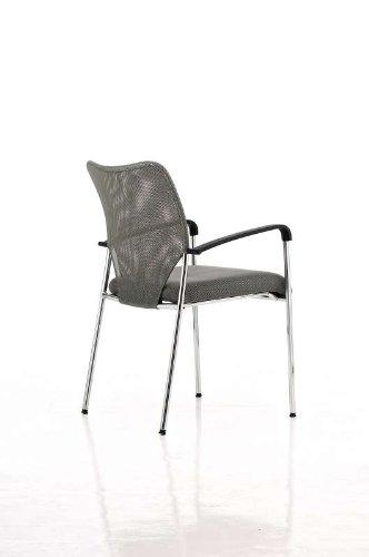 CLP Konferenzstuhl CUBA mit Stoffbezug und hochwertigem Sitzpolster | Besucherstuhl mit Armlehne und Metallgestell Grau - 4