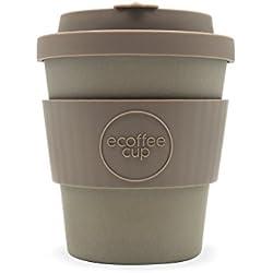 Taza de café de color gris sólido de 250 ml, taza de café de bambú reutilizable de Molto Grigio