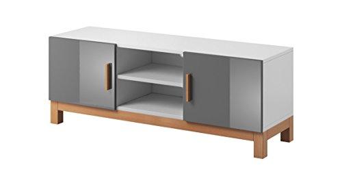 VIVALDI MEBLE Design TV Board weiß grau matt Hochglanz Fernsehtisch Sideboard Kommode Lowboard