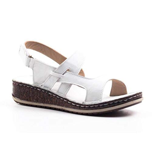 Damen Casual Wedge Buckle Sandals, Selou Summer Hollow Out Wanderschuhe Frauen Riemchen Mit Absatz Flach Bequeme Trekking Art Outdoor Kork Plateau Flip Flop Breite Keilsandaletten Mens Steel Toe Oxford Athletic