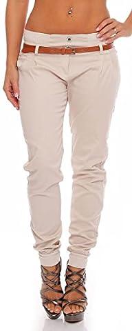 malito Chino-Pantalon avec Ceinture en Similicuir Tube Lady-Fit Casual Base 5396 Femme (S, beige)
