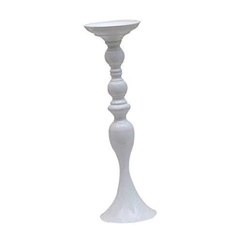 B Blesiya Große Metall Blumenvase Dekovase Vase Kerzenhalter Kerzenständer Hochzeitsdeko - Weiß-L