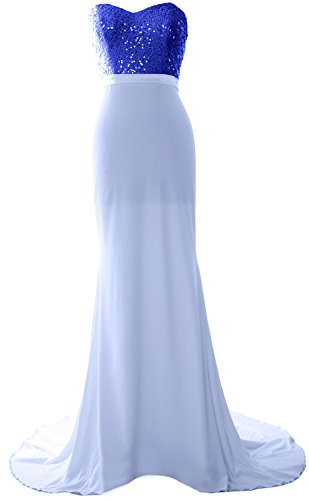 MACloth Gorgeous Mermaid Bridesmaid Dress Strapless Jersey Sequin Long Prom Gown Royal Blue-Sky Blue