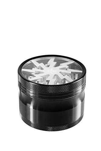 Heisenberg Weedstar Lightning Aluminium Grinder - Crusher & Kräutermühle mit Deckel, Magnet & Fenster - 25 Zähne - 4 teilig - Ø 5cm - 6cm hoch - Gewürzmühle für Tabak, Kräuter, Pollen - Silber