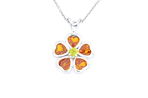 2.5 Ct Simulated Orange Citrine Heart Bezel & Peridot Pendant .925 Sterling Silver Rhodium Finish
