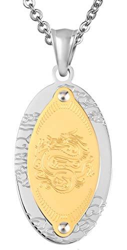 Beydodo Herren Kette mit Anhänger Edelstahl Vintage Drachen Oval Dog Tag Gold Freundschaftskette Halskette für Partner