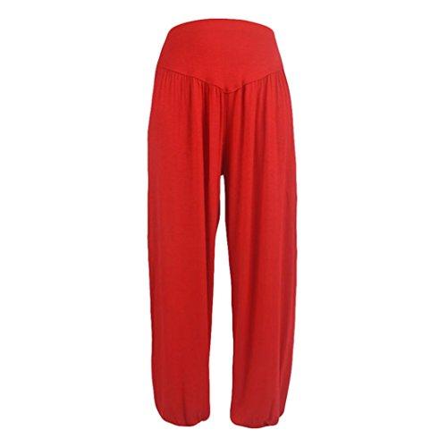 UFACE Beiläufige Yogahose-Laterne der Breiten Normallackfarbe losen breites Bein keucht Baumwollweiche Yoga-Sport-Tanz-Pluderhosen (3XL, Rot)