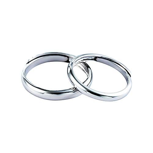 Lovinda Girl Männer Silber überzogene Ring Paar Mode Zirkon 2-teilige Ring öffnen einstellbar Edelstahl Fingerring Günstige Schmuck Zubehör für Freundin Paar Geburtstagsgeschenk x 1 Satz