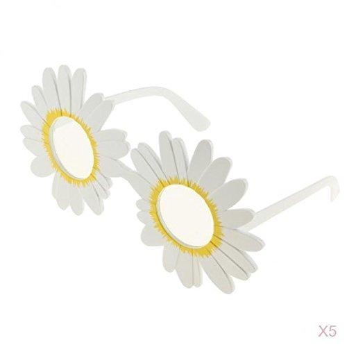 Baoblaze 5 Stücke Daisy Brillen Blume Brille Kostüm Lustige Sonnenbrille Weiß (Daisy Halloween Für Blume-kostüme)