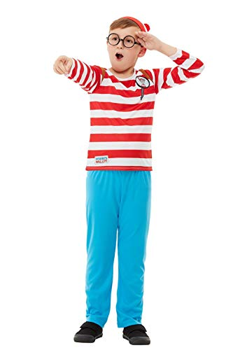 Smiffys 50279L Offizielles Where e's Wally Deluxe-Kostüm für - Wheres Wally Kostüm Kinder