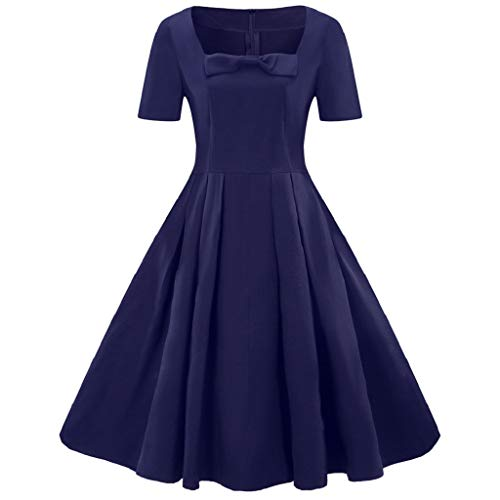 (Soupliebe Mode Frauen Plus Größe Kurzarm Vintage Dress Feste Bogen Retro Flare Dress Abendkleider Cocktailkleid Partykleider Blusenkleid)