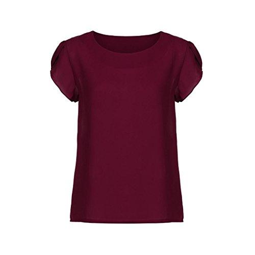 OSYARD Damen Sommer O Neck Chiffon Solid Kurzarm Bluse Tops Kleidung T-Shirt(EU 46/XL, Rot)