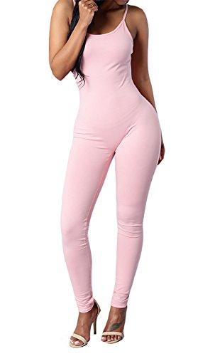 CoCo Fashion Damen Jumpsuit Ärmeloses Overall Spielanzug Spaghettiträger Hosen lang Rosa