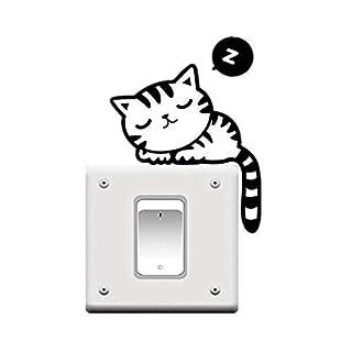 XiAnYeMa Cat Nap Pet Light Switch Funny Wall Decal Vinyl Sticker