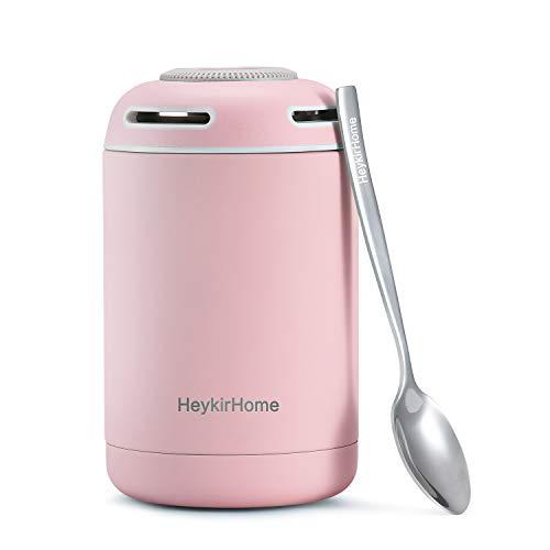 HeykirHome Thermobehälter 480ml, Edelstahl Thermo Speisebehälter Warmhaltebox für Warme Speisen, Babykostwärmer and Essen mit Löffel (Pink) (Baby Lunch Box)