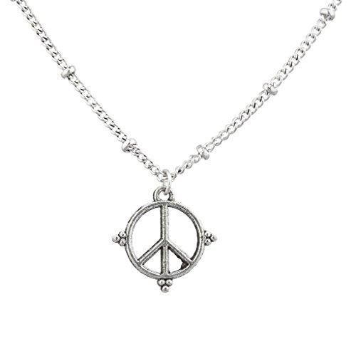Hat Regenbogen Peace Zeichen (LUX Zubehör Boho Burnish Silber Charm Peace Zeichen Hippie Anhänger)
