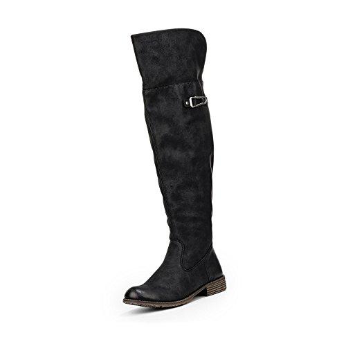 Rieker Damen Overknees Stiefel Schwarz, Schuhgröße:EUR 37