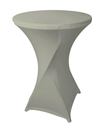 Stoff-Kollektion Stretch Stehtischhusse für Stehtische Bistrotische Klapptische mit 70cm Durchmesser (Grau)