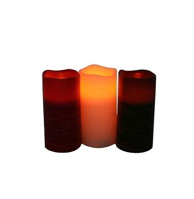 Greemotion LED-Kerze 7,5x15cm, elfenbein,rot,orange aus echtem Wachs, Mehrfarbig, 7,5x15x7,5cm von greemotion bei Lampenhans.de