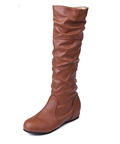 Minetom Damen Klassische Stiefel Weiche Flache Schuhe Lederstiefel Winter Casual Plissee Höhe Stiefel Braun EU 39