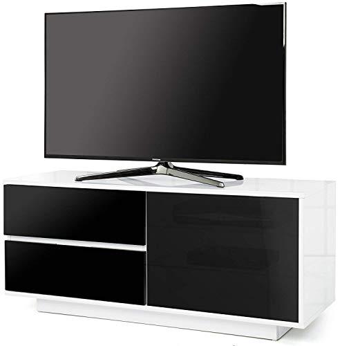 Centurion Gallus TV-Regal mit 2 Schubladen, 3 Ablagen, glänzend, Weiß - 2 Regal Breit Tv-ständer