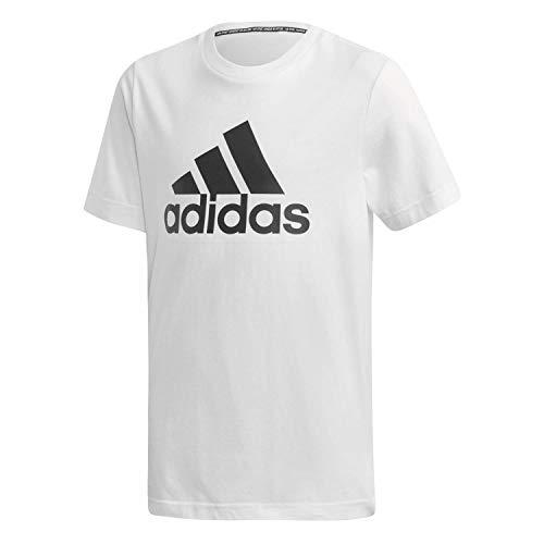 Adidas yb mh bos t, t-shirt bambino, white/black, 7-8a
