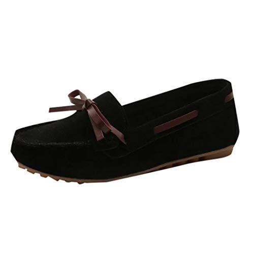 Damen nautische Wildleder Smart Loafer Bowknot Mokassin Flacher Slip On Comfort Schuh Einfarbig Sandalen Bootsschuhe
