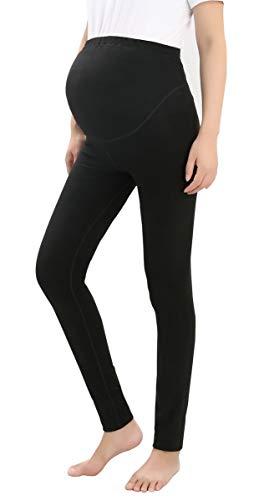 Ziehen Spandex-leggings (Foucome Schwangerschaftshose für Damen, bequemes Stretch-Leggings zum Anziehen, mit Taschen - Schwarz - Mittel)