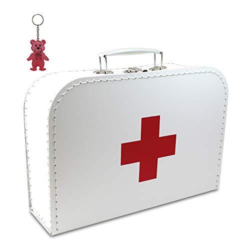 Arztkoffer Pappe weiß mit rotem Kreuz 35 cm inkl. 1 Anhänger Reflektorbärchen, Kinderkoffer, Malkoffer, Spielzeugkoffer, Reisekoffer, Puppenkoffer, Pappkoffer, Doktor-Koffer