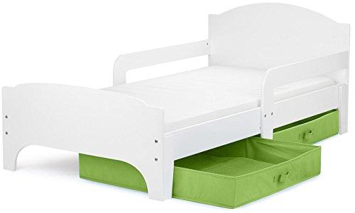 *Leomark Kinderbett mit Schubladen für Bettwäsche und Matratze 140 x 70 Weiße Farbe /Grün schublade/*