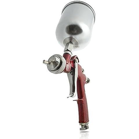 Pst B011O1QC1E - Alimentación por gravedad pistola de pulverización hvlp profesional con depósito de pintura de aluminio con boquilla de 1,4 mm - cromo