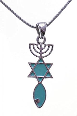 Messianic Seal Necklace - Rhodium Plated Brass Turquoise Pendant - Jews for Jesus Religious Jewellery - 25x10mm