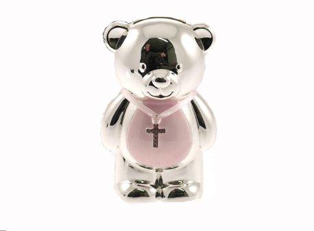 Achat Cadeau de baptême émaillée en forme d'ourson Argenté-Tirelire Rose
