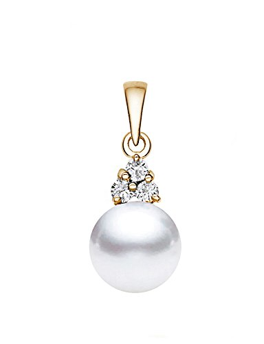 14K Or jaune perle de culture d'eau douce blanc de qualité AAA diamant pendentif